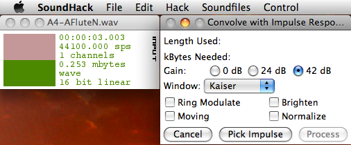 Screenshot of SoundHack's convolution dialog box.